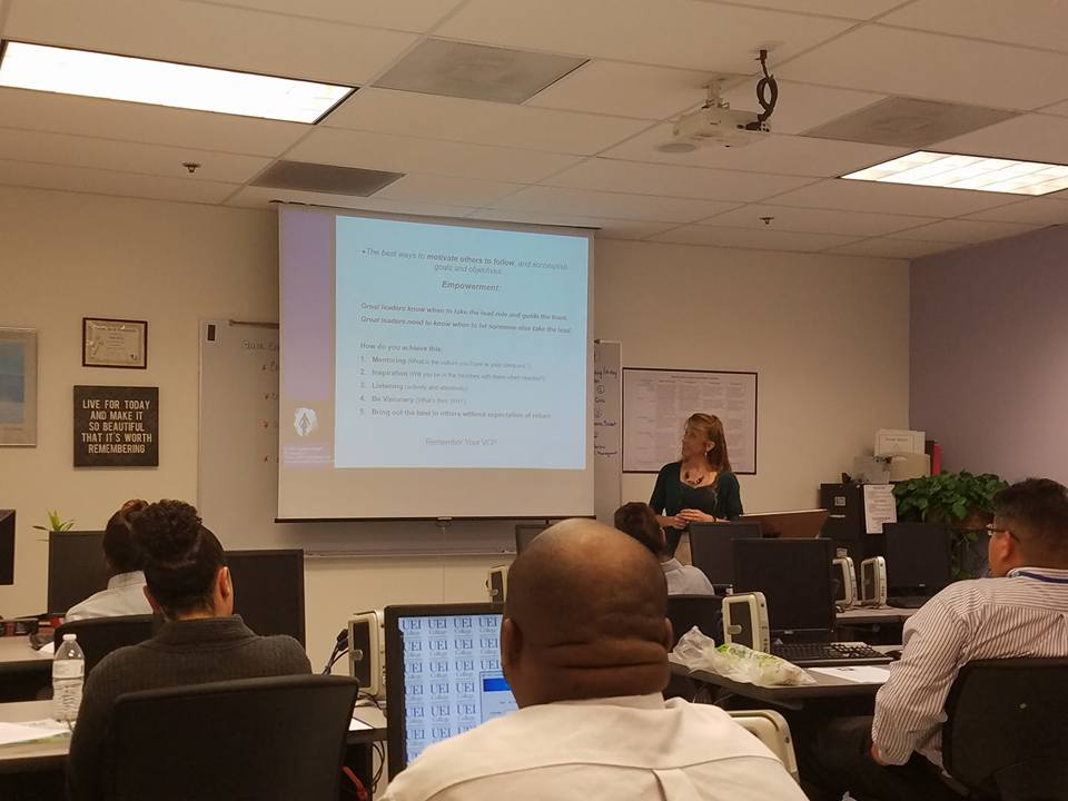 Debbra Sweet speaking on Leadership at UEI College 2016